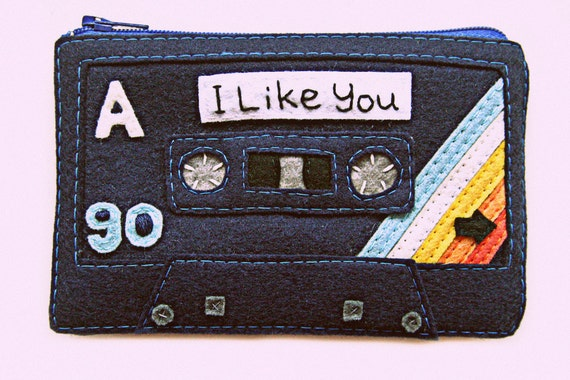 Women's Clutch Mix Tape Zip Pouch Cassette Tape Wallet I Like You