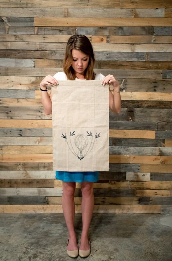 Linen Tea Towel Hot Air Balloon Flax