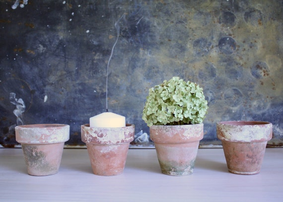 Vintage Terra Cotta Flower Pots Candle Holders Vase