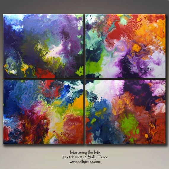 Original Abstract Painting, FOUR canvases 32x40 inches ...Mastering the Mix... by Sally Trace