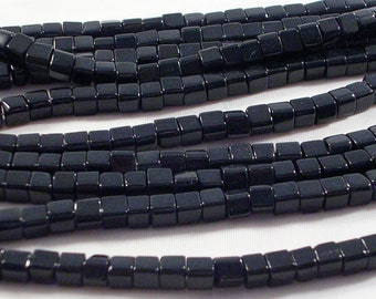 Glass Beads (GB115) 4mm Black Glass Cube Beads