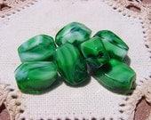 Forest Green Encased UNIQUE Vintage Glass Beads