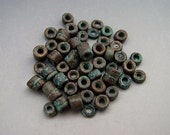 Mykonos Greek Ceramic Beads 3mm Green Copper Patina TINY Tubes Heishi Spacers Naos