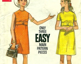 Butterick 5312 Mini Dress with Under Bust Front Bodice Band Bust 38 circa 1960s