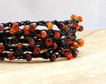 Beaded Wrap Bracelet, Black, Orange, Pink, Crochet Jewelry, Bohemian Style Multi Wrap Bracelet, Hippie Jewelry, Wrap Around Bracelet
