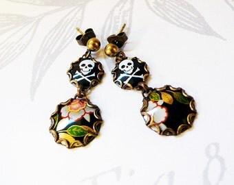 skulls and flowers - vintage tin earrings