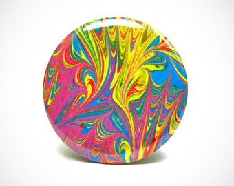 Marbled Magnet 11 Bright Crayon Colors Marbled Paper 2.25 inch Round Magnet - Office, Kitchen, Locker - Gifts Under 5 Dollars