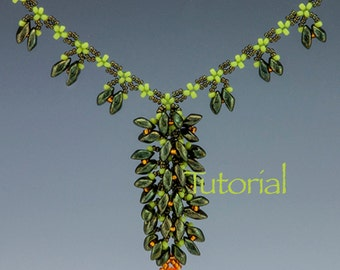 Seed Bead and Magatama Necklace Tutorial Blooming Vine Digital Download