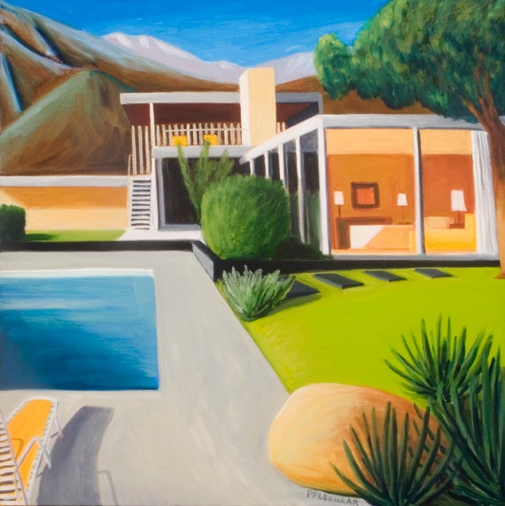 Original Oil Mid Century Modern Architecture Kaufmann House  by Richard Neutra Palm Springs, CA Modernism