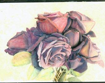 vintage photo  Purple Roses original art Hand colored photograph 1978