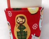 Christmas Special-Coffee Cozy, Cup Sleeve, Eco Friendly Slip-on: Xmas Russian/Matryoshka Dolls on Red