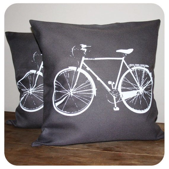 Bicycle Pillow Cover 16x16'' Grey