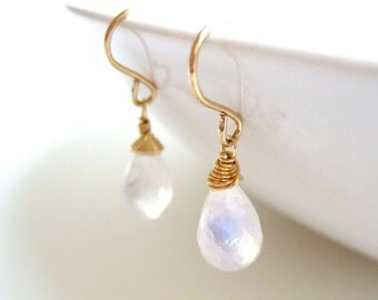 Rainbow Moonstone Earrings - June birthstone, clear small drop dangle, simple bridal, available in gold, silver, and bronze finish