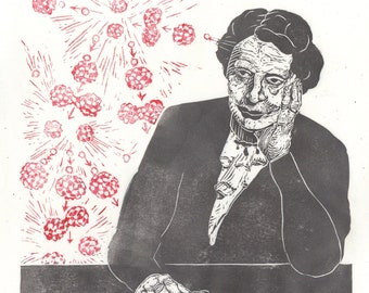 Lise Meitner and Nuclear Fission Linocut History of Physics - Lino Block Print Scientist Portrait, Women in STEM, History Nuclear Physics,