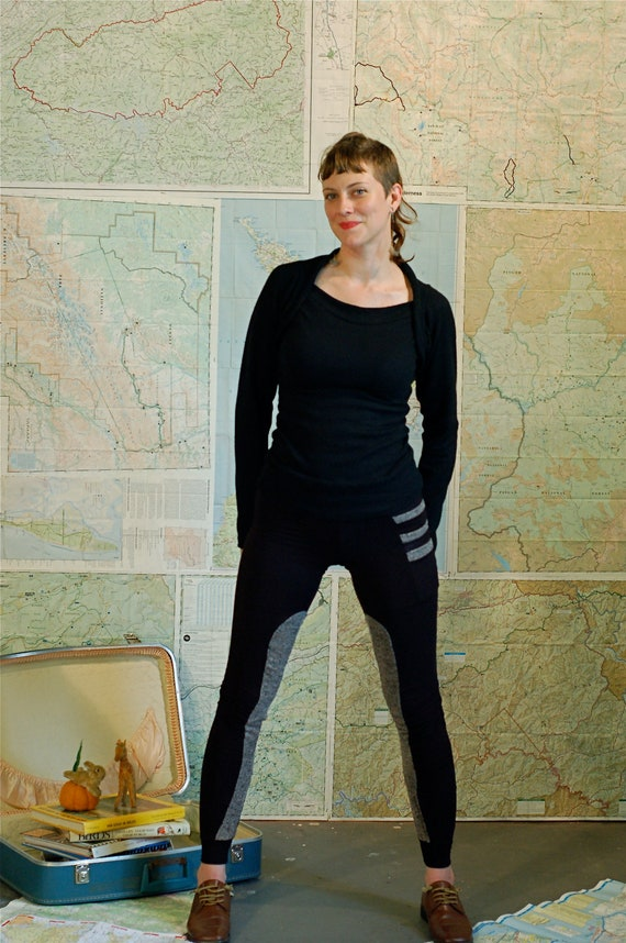 Eco Friendly bamboo Leggings - black riding leggings in soft stretchy bamboo with tan sweater knit insets. complete with three side pockets.