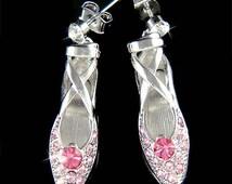 Pink Swarovski Crystal Ballerina Shoes Slippers Ballet Dance Earrings Christmas Gift New for The Nutcracker Swan Lake Lover
