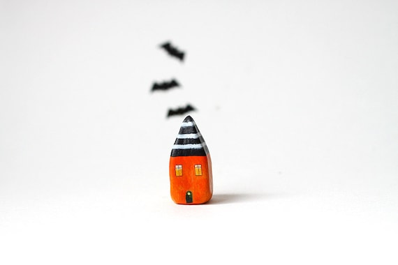 Halloween little house - orange and black clay house with white stripes