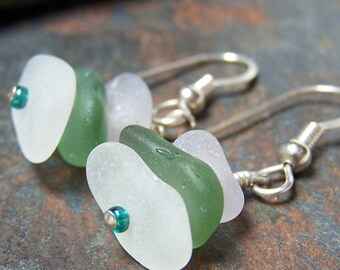 Stacked - Sea Glass STERLING Silver EARRINGS