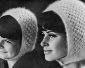 Angora Bonnets - Vintage 60s Hat Pattern - Vintage Knitting - PDF eBook