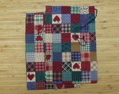 Primitive Christmas or Valentines Patchwork Heart  Holiday Fabric Gift Bags