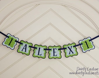 Boy First Birthday Fabric Banner - Navy blue and green - Priced per banner piece
