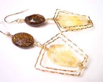 Honey Gold Citrine Nugget Earrings with Bronzite pillow-cut squares, color block fashion jewelry