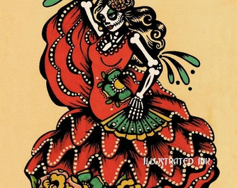 Day of the Dead Spanish Dancer FLAMENCO Art Dia de los Muertos Print 5 x 7, 8 x 10 or 11 x 14