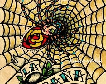 Old School Tattoo Art Spider LA ARANA Loteria Print 5 x 7, 8 x 10 or 11 x 14
