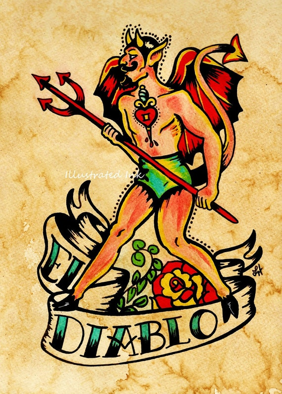 Old School Tattoo Devil Art El DIABLO Loteria Print 5 x 7, 8 x 10 or ...