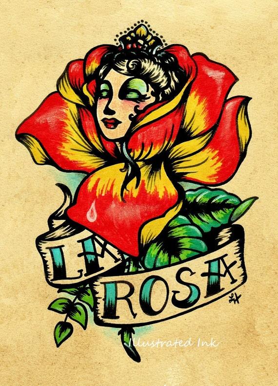 Old School Tattoo Rose Art LA ROSA Loteria Print 5 x 7, 8 x 10 or 11 x 14
