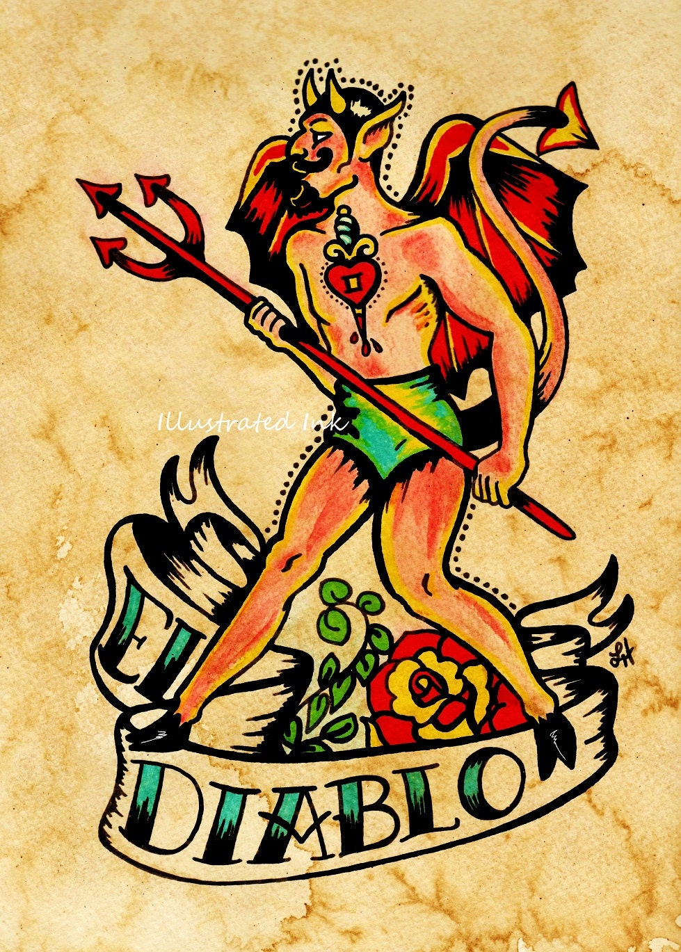 Old School Tattoo Devil Art El DIABLO Loteria Print 5 X 7 8