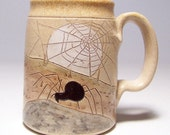 Spider and Web  Large Pottery Coffee Mug Limited Series 183 (16 oz microwave safe)