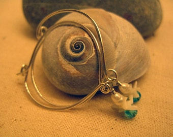 Pearl Sea Danglies Sterling Silver Hoop Earrings