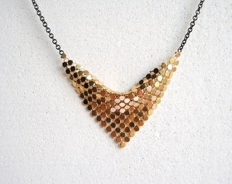 SALE - Gold Bib Necklace with Sequin Triangle - FREE US Shipping
