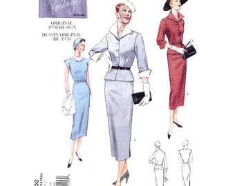 Evening dress Midcentury suit  jacket summer 50s style sewing pattern Vogue 2402 Mid Century Re issue pattern Sz 6 to 10