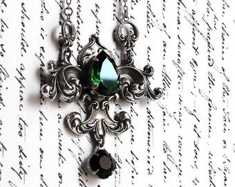 Green crystal necklace gothic jewelry gothic necklaces Medieval Necklace lavalier necklace Black swarovski necklace Silver Fleur De Lys Lis