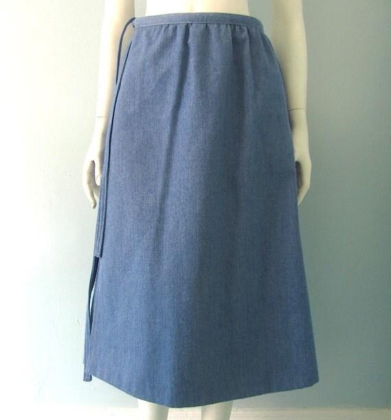 handmade vintage denim wrap skirt s m by welcomehomevintage
