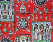1970's paisley and stylized floral print cotton fabric, red, green, blue, black, brown, and white, 3 yards available