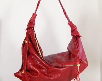 Rebecca - Twin Size Red Leather Hobo Shoulder Bag Handmade In England