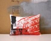 HALF PRICE - New York City Water Tower Pillow - Black White and Red City Pillow - New York City Architecture Pillow