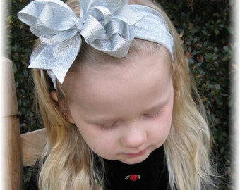 Silver baby headband, Christmas baby headband, Glitter bows, Christmas hair bows, Unique hair bows, silver metallic, bling, Exclusive, bows