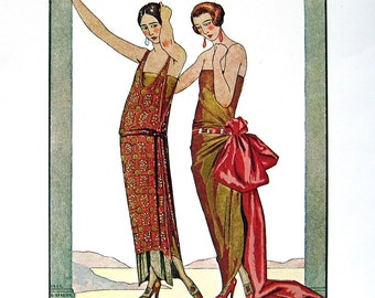 Frecnh Fasion - Evening Wrap, Paul Poiret, Evening Gowns by Worth, 1900's French Fashion Styles 1979 Vintage Book Plate