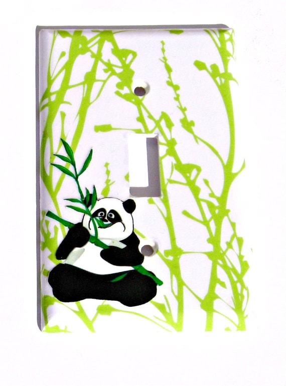 Items similar to panda bear light switchplate room decor for Panda bear decor