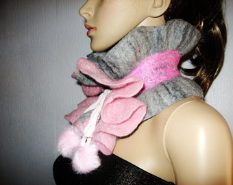 SALE Felted  Scarf Ruffled Neck warmer Pink and Grey
