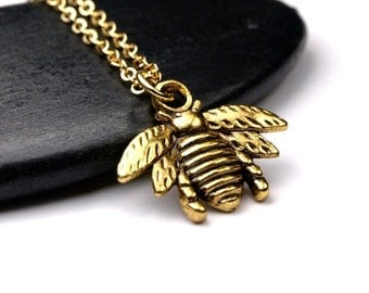 Small Bee gold plated brass charm Pendant Necklace on a delicate gold plated chain