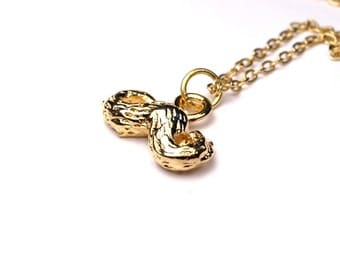 Moustache charm Small Gold plated pewter pendant Necklace on delicate gold plated chain