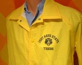 70s vintage wind breaker FORT HAYS state university tigers stadium jacket coat Medium kansas chalk line fhsu