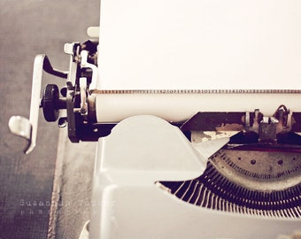 Still life photography, vintage typewriter photo, grey tones, dorm decor, for a writer, industrial art - The Start of a Love Letter