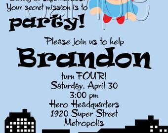 25 5x7 BOY Superhero Birthday Party Invitations