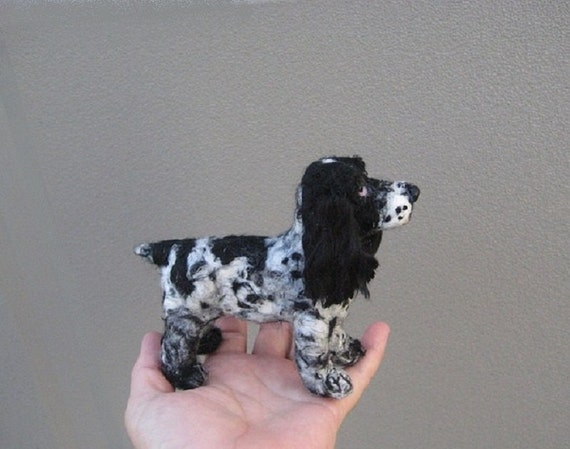 Custom Dog Sculpture of your pet  / example English Cocker Spaniel / poseable by Fiber Artist GERRY